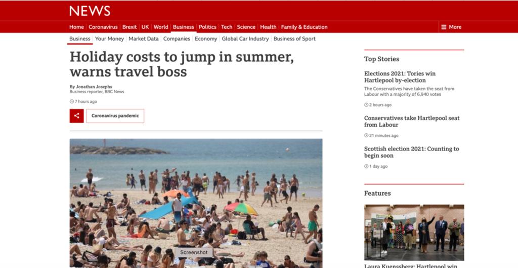 BBC News Screenshot - Holiday costs to jump in summer, warns travel boss